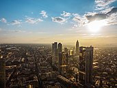 Germany, Frankfurt, city view at sunset seen from above - KRPF02050