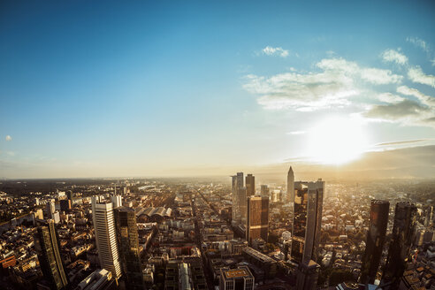 Germany, Frankfurt, city view at sunset seen from above - KRPF02056