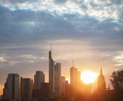 Germany, Frankfurt, view to skyline of financial district at sunset - KRPF02059
