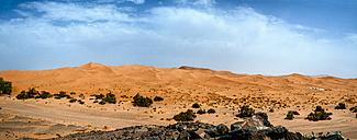 Morocco, Merzouga, panoramic view of Erg Chebbi desert - KIJF00994