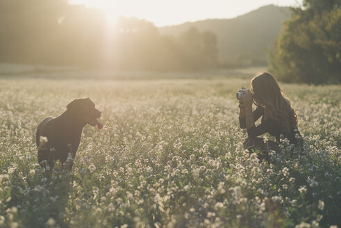 Young woman taking picture of her dog in field of flowers at twilight - SKCF00225