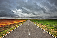 Spain, Province of Zamora, empty road and fields under cloudy sky - DSGF01198