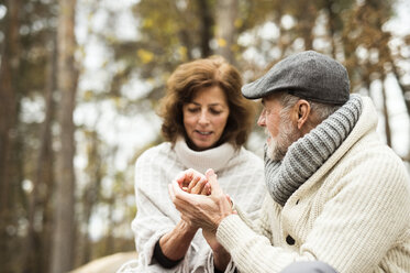 Senior holding hands in autumnal forest - HAPF01156