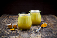 Two glasses of curcuma milk - LVF05654