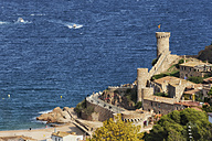 Spain, Costa Brava, Tossa de Mar, Old Town and Mediterranean Sea - ABOF00131