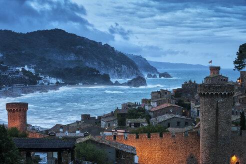 Spain, Costa Brava, Tossa de Mar, Old Town at dusk - ABOF00137