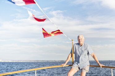 Confident senior man on a boat - WESTF22289