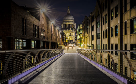 UK, London, view from Millennium Bridge to illuminated St Pauls Cathedral - MPAF00107