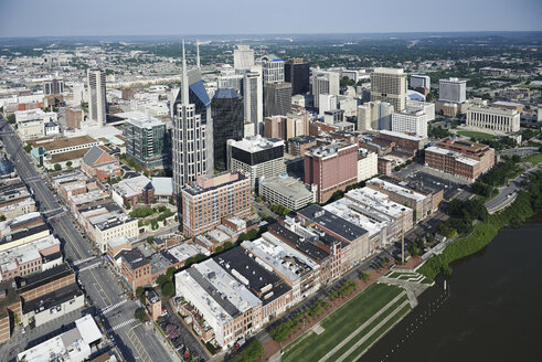 USA, Nashville, cityscape of downtown, aerial view - BCDF00252