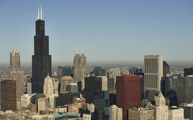 USA, aerial photograph of the City of Chicago skyline in the morning - BCDF00258