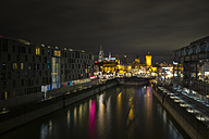 Germany, Cologne, Rheinauhafen, Christmas market at Imhoff chocolate museum by night - ODF01468