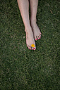 Women's feet with blossom on meadow - JUNF00712