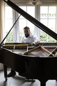 Piano tuner tuning grand piano - ABZF01607