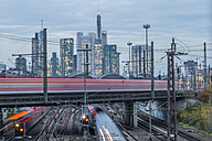 Germany, Frankfurt, view to central station with financial district in background - KEB00434