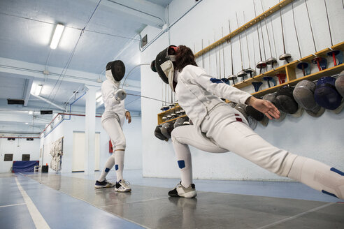 Female fencers during a fencing match - ABZF01613