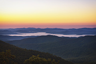 USA, North Carolina, view from Blue Ridge Parkway to Pisgah Forest at sunrise - SMAF00631