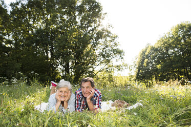 Senior couple lying side by side on blanket on a meadow - HAPF01243