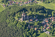 Germany, Rimbach, aerial view of Hanstein Castle ruin - HWOF00159