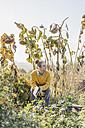 Young woman with book relaxing in cottage garden - KNSF00772
