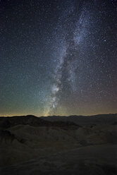 USA, California, Death Valley National Park, night shot with stars and milky way over Zabriskie Point - EPF00207