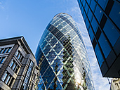 UK, London, City of London, view to 30 St Mary Axe at financial district - AMF05154