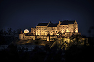 Germany, Burghausen, lighted castle in the night at full moon - HAMF00252