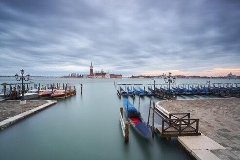 Italy, Venice, moored gondolas at twilight - XCF00109