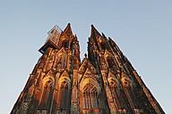 Germany, Cologne, view to Cologne Cathedral from below at sunset - GWF04939