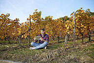 Young man with tablet sitting in a vineyard - FMKF03373