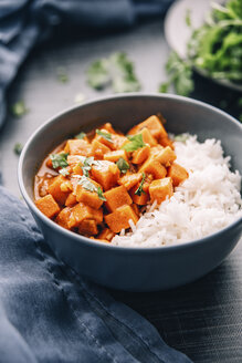 Bowl of sweetpotato ragout served with rice - IPF00347