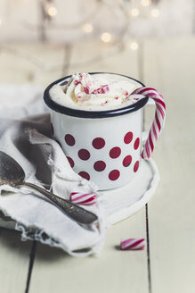Hot chocolate with whipped cream and sugar cane - SBDF03126