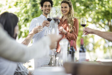 Couple raising a toast together with wine in garden - ZEF12365