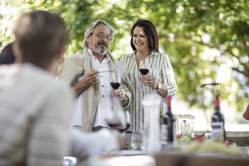 Senior couple raising a toast  during family lunch in garden - ZEF12386