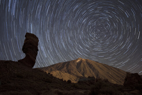 Spain, Tenerife, Star trails over Teide volcano in Teide National Park - DHCF00011