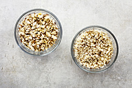 Different grated hazelnuts in glass bowls - EVGF03118