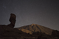 Spain, Tenerife, night shot with stars  over Teide Volcano - DHCF00039
