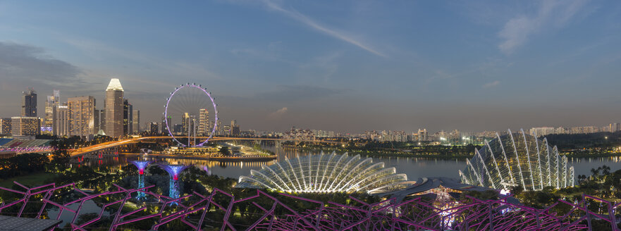 Singapore, panorama of Gardens by the Bay with Flower Dome and Singapore Flyer at Dragonfly lake - TOV00065