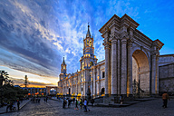 Peru, Arequipa, Plaza de Armas, Cathedral at sunset - FOF08633