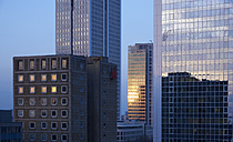 Germany, Frankfurt, facades of skyscrapers at evening twilight - BSC00555