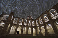 Spain, Valle de Manzanedo, star trails over ruined Rioseco Abbey - DHCF00043