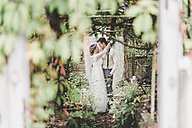 Bride and groom embracing in greenhouse - ASCF00693
