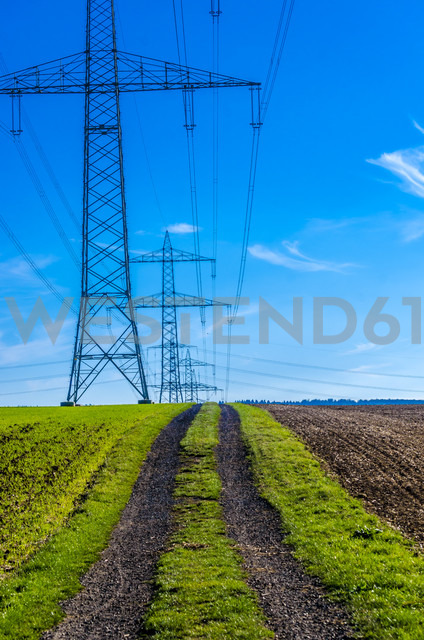 Row of high-voltage poles with dirt track in the foreground - MHF00401