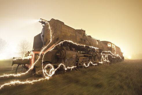 Abandoned old train at twilight - DHCF00044