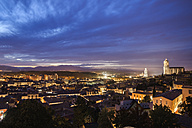 Spain, Girona, city view at evening twilight - ABOF00150