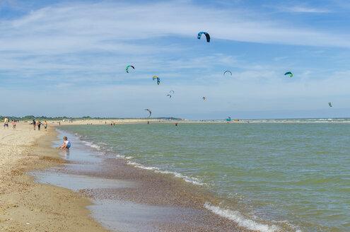 Netherlands, Zeeland, Vrouwenpolder, beach with kitesurfern - MH00409