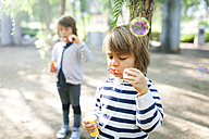 Boys blowing soap bubbles in park - VABF01015
