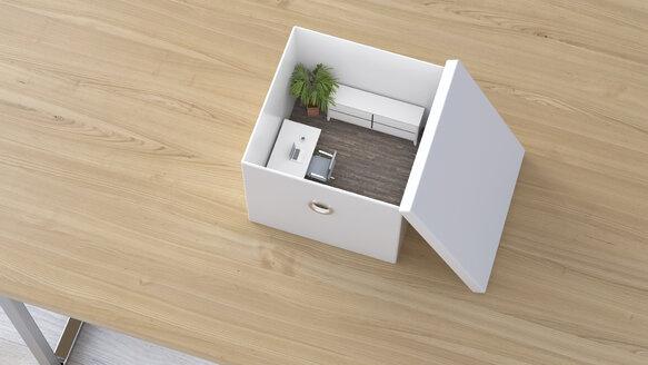 Office in a box, 3D Rendering - UWF01105