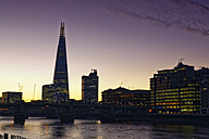 UK, London, River Thames with The Shard and other office building in the background - GFF00981