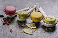 Four macarons on porcellain spoons - ODF01479