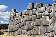 Peru, Andes, Cusco, stone wall at the Inca ruins of Sacsayhuaman - FOF08731